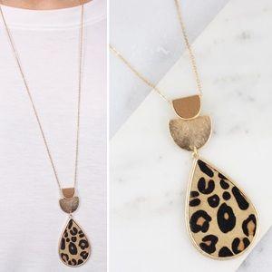 Leopard Teardrop Pendant Long Necklace